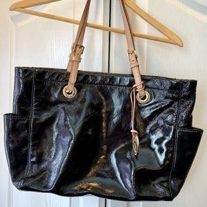 Michael Kors large black patent leather tote